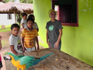 patricia with local kids and lara